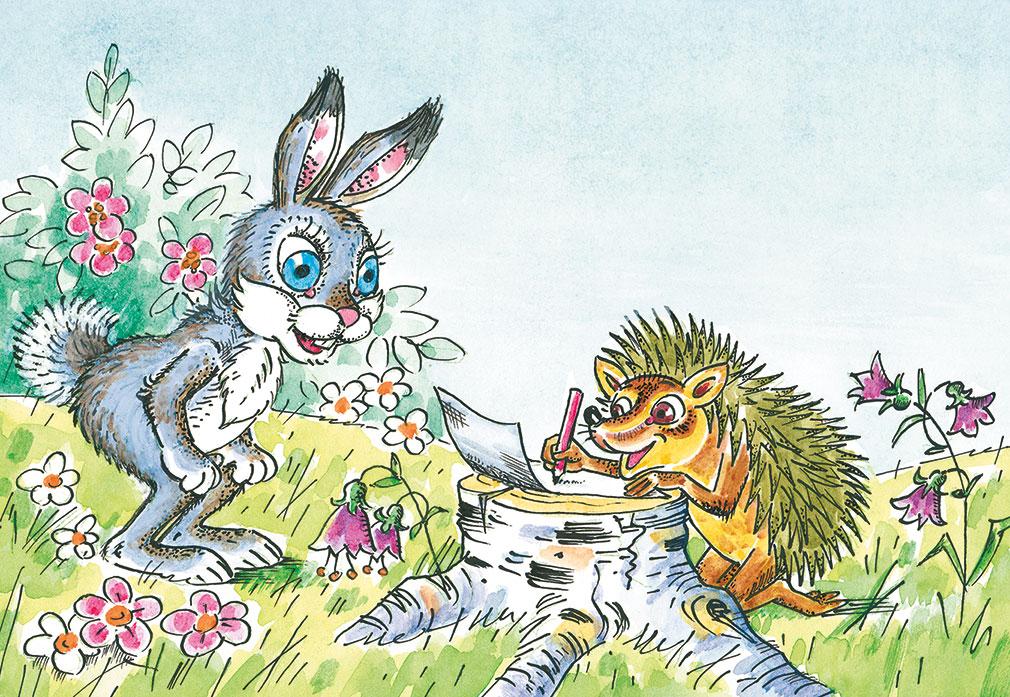 одной рисунок зайца и ежика него