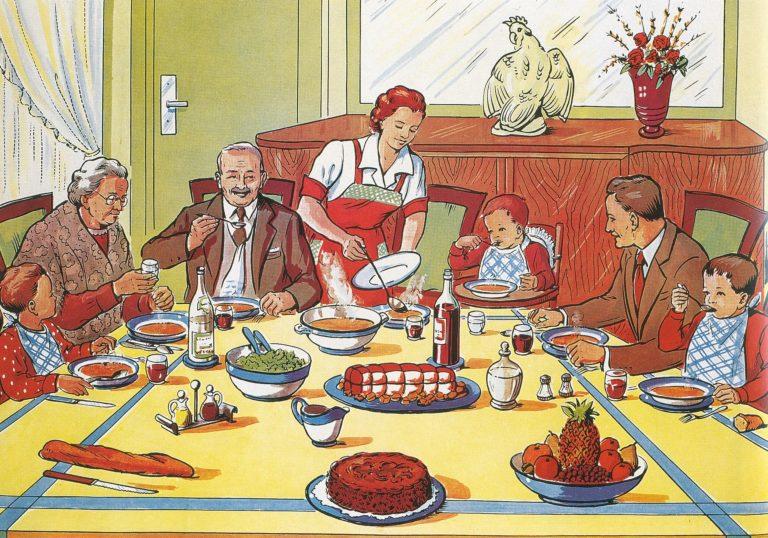 Семейный ужин картинки нарисованные